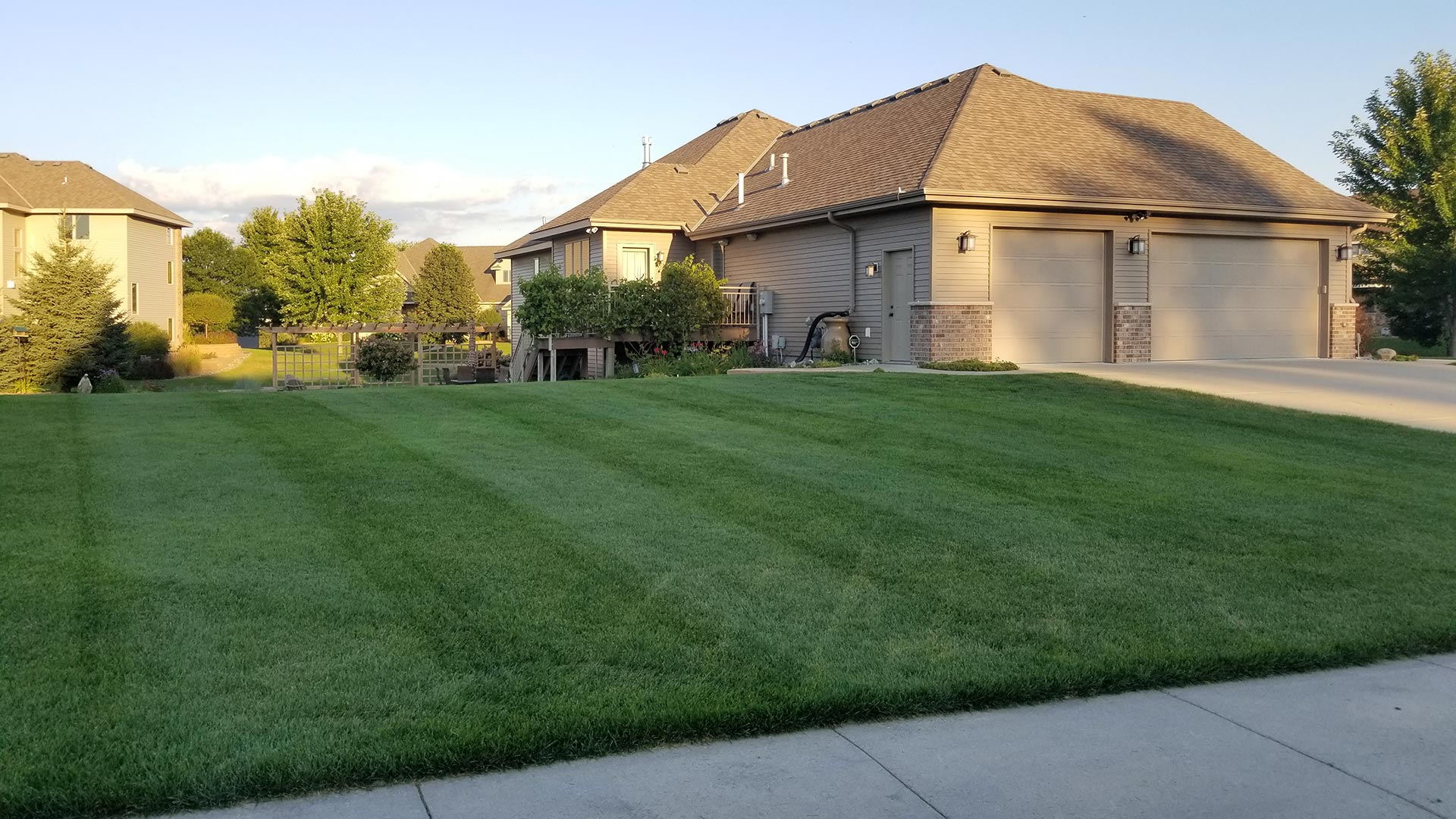 A recently mowed lawn with mowing stripes in St. Cloud, MN.