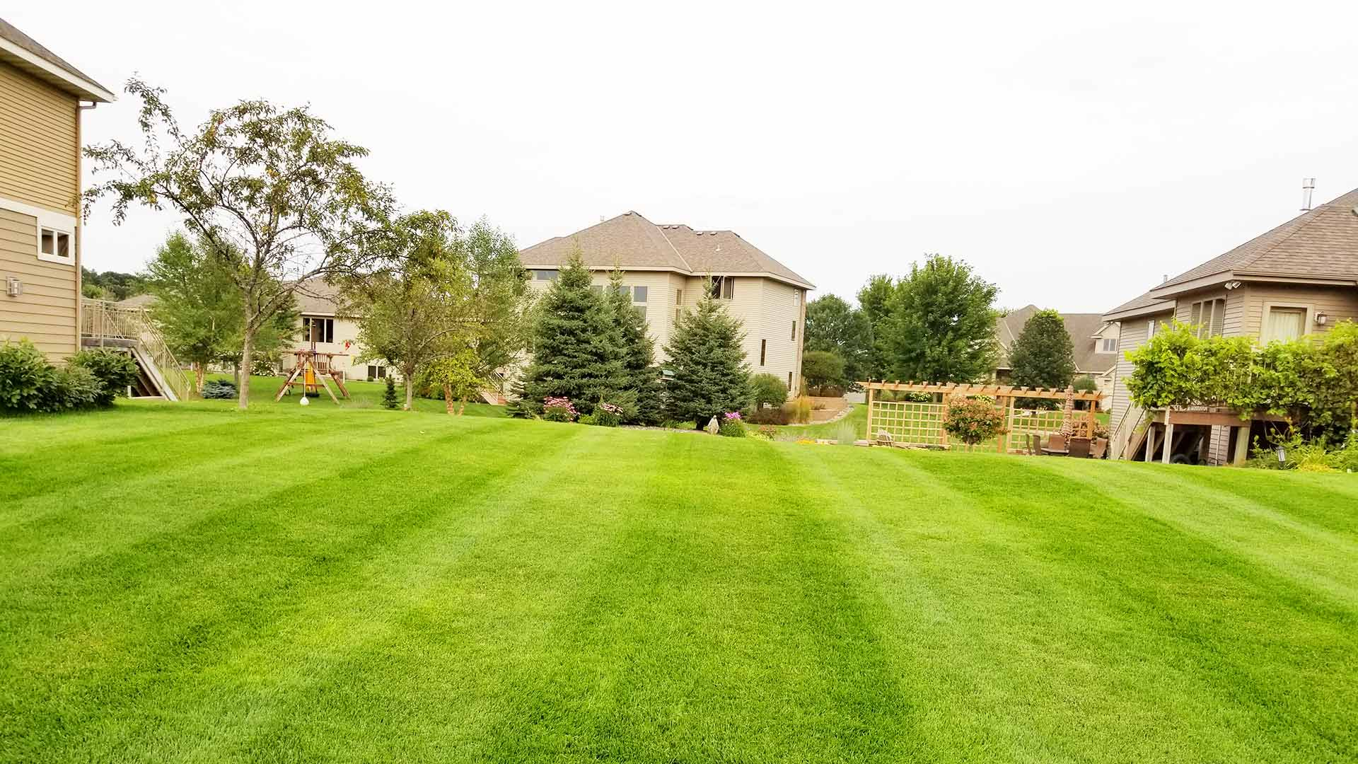 Residential backyard receiving ongoing lawn mowing and maintenance in Sartell.