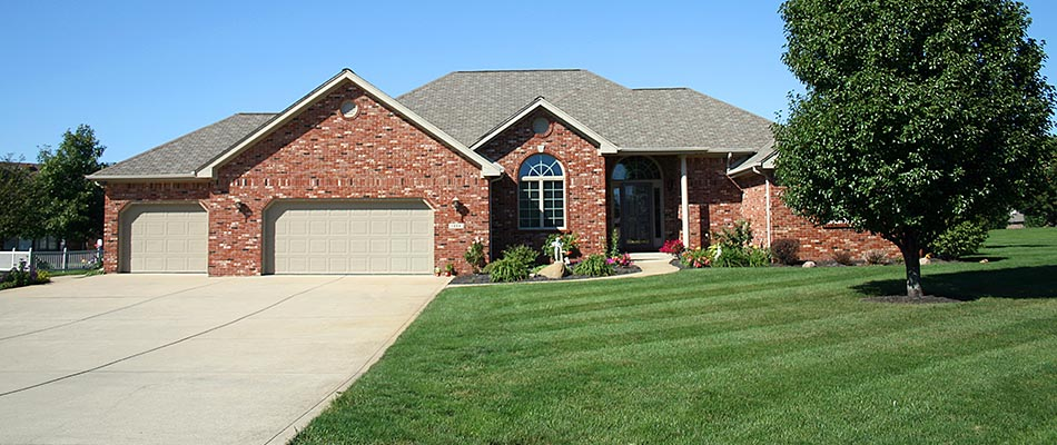 Residential lawn and landscaping we maintain in Sartell, MN.